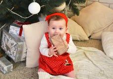 坐在圣诞树下和在她的手上的逗人喜爱的小女孩拿着一件礼物 库存照片