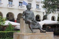 坐在塞萨罗尼基的亚里斯多德 图库摄影