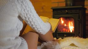 坐在壁炉前面的一张软的地毯和读书的妇女 股票视频