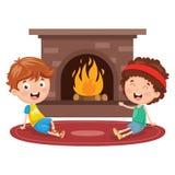 坐在壁炉前面的孩子的传染媒介例证 库存例证