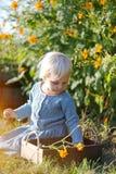 坐在夏天庭院采摘花的小小孩女孩 库存照片