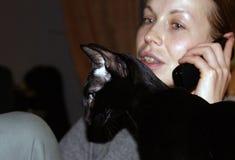 坐在外形的美丽的优美的黑东方猫 免版税库存照片