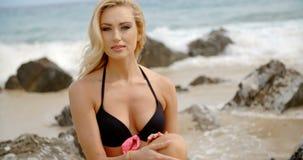坐在多岩石的海滩的黑比基尼泳装的白肤金发的妇女 影视素材
