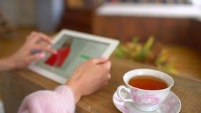 坐在她的有片剂计算机的书桌的妇女看网上零售服装店网站 站点显示各种各样 股票视频