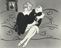坐在妇女膝部的人的例证 免版税库存图片