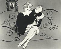 坐在妇女膝部的人的例证 免版税图库摄影