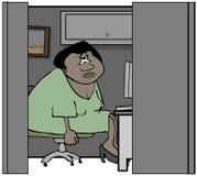 坐在小卧室的女工 库存例证