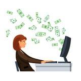 坐在屏幕前面的女实业家 免版税库存图片