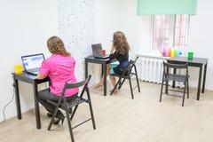 坐在工作地点的两名妇女在办公室屋子里 免版税图库摄影