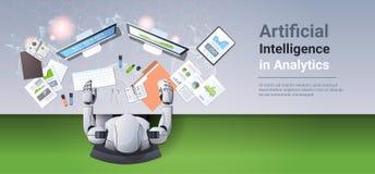 坐在工作场所类人动物的现代机器人分析人为财政图表图企业逻辑分析方法的报告 向量例证