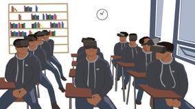 坐在教室的男孩佩带虚拟现实耳机 免版税库存图片