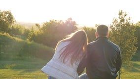 坐在日落的年轻愉快的夫妇后面看法  股票录像