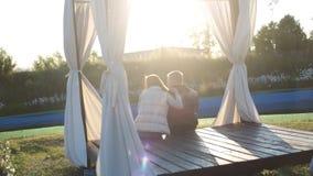坐在日落的年轻愉快的夫妇后面看法  股票视频