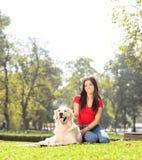 坐在有她的爱犬的公园的女孩 免版税库存图片