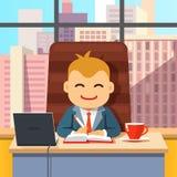 坐在有膝上型计算机的书桌的高级领导CEO 库存照片