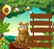 坐在木旁边的熊签到密林 向量例证