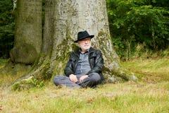 坐在树下的明智的老人在森林里 免版税库存照片
