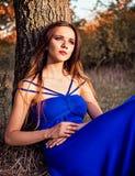坐在树下的美丽的女孩。日落时间 免版税库存照片