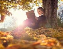 坐在树阅读书下的男孩 库存图片