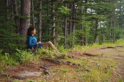 坐在树附近的远足者妇女在森林里 免版税库存照片