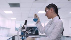 坐在桌上的一个女性化验员在一台膝上型计算机旁边在一个现代医学实验室审查蓝色样品  影视素材