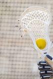 坐在棍子的口袋的黄色曲棍网兜球球 免版税库存图片