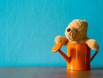 坐在橙色喷壶的玩具熊投入了木桌 背景是内容的绿松石和拷贝空间 库存照片