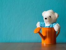 坐在橙色喷壶的白色玩具熊投入了木桌 背景是内容的绿松石和拷贝空间 免版税库存图片
