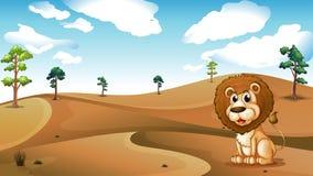 坐在沙漠的狮子 向量例证