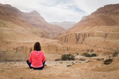 坐在沙漠谷上的妇女 库存照片