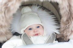 坐在温暖的婴儿推车的可爱的微笑的婴孩 免版税库存照片