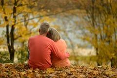 坐在湖附近的成熟夫妇 免版税库存照片
