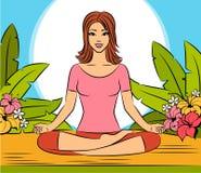 坐在瑜伽莲花坐的妇女。 库存例证