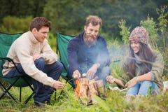 坐在篝火附近的小组微笑的朋友 免版税库存照片