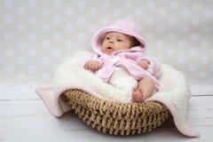 坐在篮子的逗人喜爱的女婴 免版税库存照片