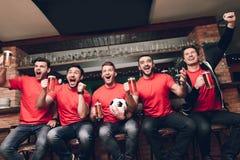 坐在线庆祝的和欢呼的饮用的啤酒的体育迷在娱乐酒吧 图库摄影