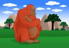 坐在自然背景中的可爱的大猴子 免版税图库摄影