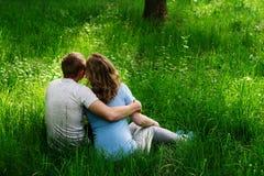 坐在草和亲吻的夫妇背面图  免版税库存图片