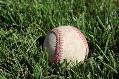 坐在草的棒球 免版税库存照片