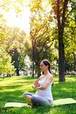 坐在莲花姿势的被聚焦的孕妇在公园 库存图片