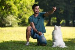 坐在被收获的领域的人和狗 免版税库存图片