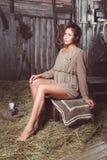 坐在谷仓的年轻长腿的女孩 库存图片