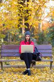 坐在长凳和使用她的膝上型计算机的美丽的少妇在秋天 免版税库存图片