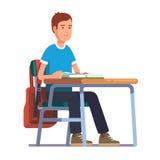 坐在他的学校书桌的青少年的学生男孩 库存例证