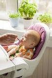 坐在他的椅子和吃从匙子的逗人喜爱的婴孩 库存图片