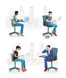 坐在Office2的人 向量例证