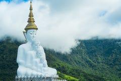 坐在Wat Pha Sorn Kaew寺庙或Wat Phra Thart Pha Kaew寺庙的五个白色菩萨雕象在Khao Kho, Phetchabun,泰国 免版税图库摄影