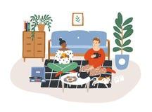 坐地板,饮用的茶和吃曲奇饼的年轻浪漫夫妇在晚上 一起花费时间的男人和妇女 向量例证