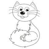 坐家庭第一主义的男人的猫微笑和,彩图 免版税库存图片