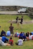坐或站立在年轻人附近的访客重立法步枪生火,堡垒Ticonderoga,纽约, 2014年 免版税库存图片